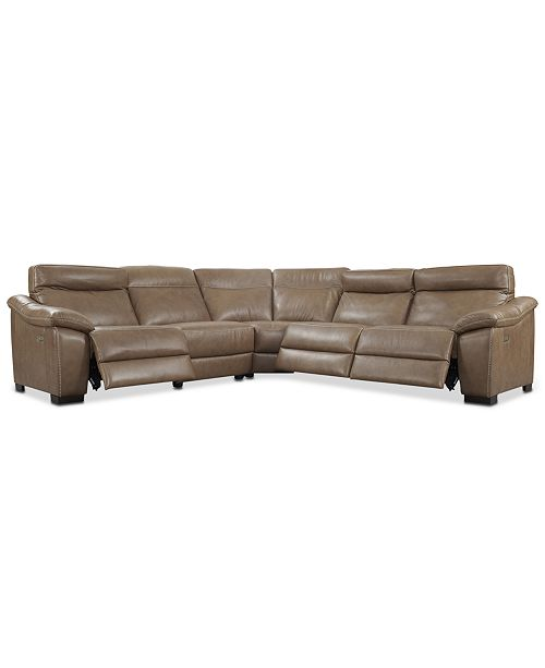 Furniture Gennaro 5 Pc Leather Sectional Sofa With 3 Recliners Headrests