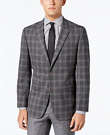 Tommy Hilfiger Men's Slim-Fit Stretch Performance Gray Plaid Sport Coat