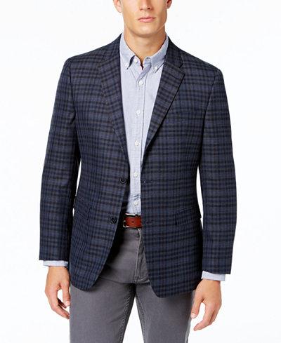 Tommy Hilfiger Men's Slim-Fit Blue Plaid Sport Coat - Blazers ...