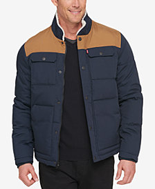 Levi's® Men's Woodsman Two-Tone Quilted Puffer Jacket with Fleece-Lined Collar