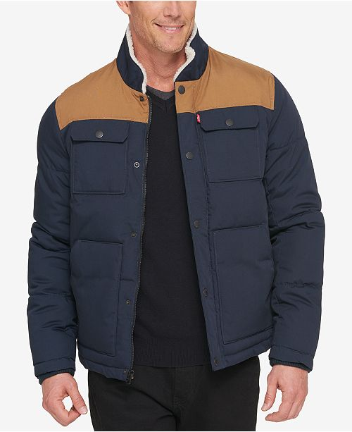 7661de705e ... Levi s Men s Woodsman Two-Tone Quilted Puffer Jacket with Fleece-Lined  ...