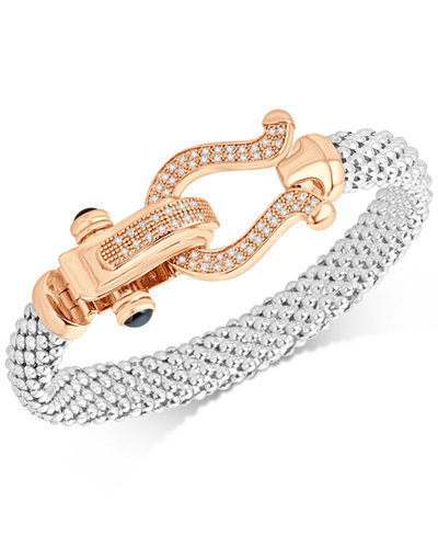 Diamond Dew Drop Mesh Horseshoe Bracelet (5/8 ct. t.w.) in Sterling Silver and 14k Rose Gold-Plate