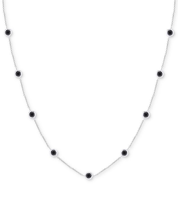 Macy's Onyx Station Necklace in Sterling Silver