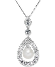 Cultured Freshwater Pearl (7mm) & White Topaz (1 ct. t.w.) Teardrop Pendant Necklace in Sterling Silver