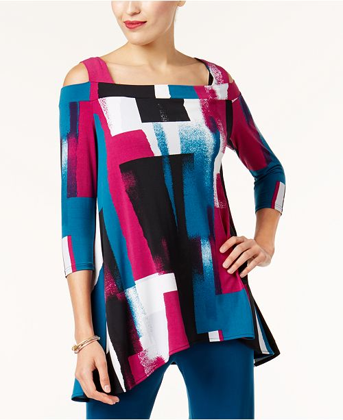 Alfani Printed Cold-Shoulder Tunic, Created for Macy's