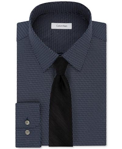 Calvin Klein Men's STEEL Print Dress Shirt & Watercolor Tie