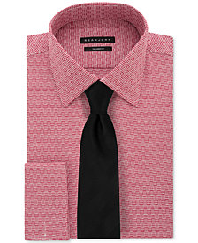 Sean John Men's Textural Solid Dress Shirt & Herringbone Solid Tie