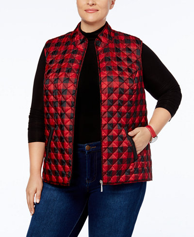 Karen Scott Plus Size Quilted Printed Puffer Vest Created For Macy S Jackets Amp Blazers Plus Sizes Macy S