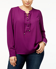 I.N.C. Plus Size Lace-Up Blouse, Created for Macy's