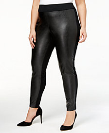 I.N.C. Plus Size Faux-Leather Front Skinny Pants, Created for Macy's