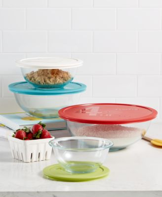 Pyrex 8 Piece Mixing Bowl Set With Colored Lids, Created For Macyu0027s