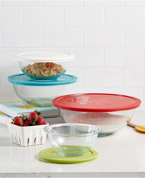 Pyrex 8-Piece Mixing Bowl Set with Colored Lids, Created for Macy\'s ...