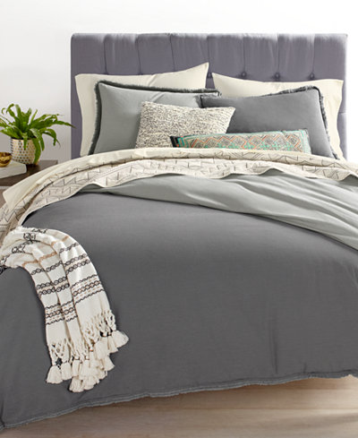 Whim by Martha Stewart Collection Cotton Linen Charcoal Bedding Ensembles, Created for Macy's