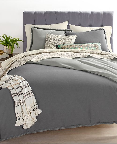 Cotton Linen Charcoal Bedding Collection Created For Macy S 600 Reviews Main Image