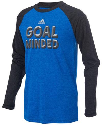 adidas ClimaLite® Goal-Minded Graphic-Print Raglan Shirt, Little Boys