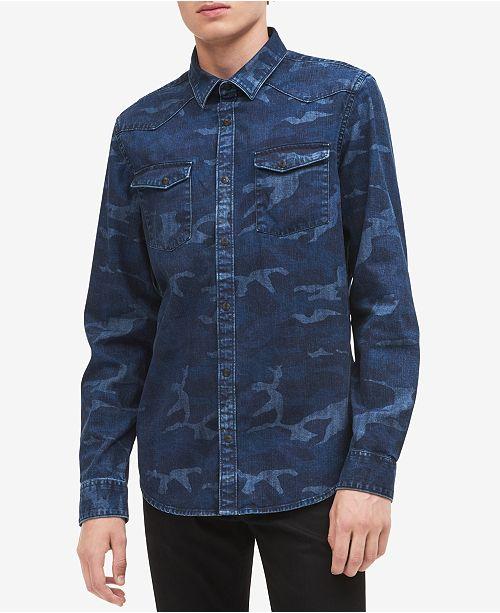 077224cf44 Calvin Klein Jeans Men s Camo Indigo Denim Shirt   Reviews - Casual ...