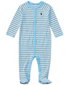 Ralph Lauren Baby Boys Striped Footed Cotton Coverall
