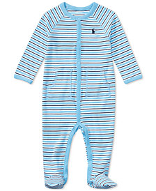 Ralph Lauren Striped Footed Cotton Coverall, Baby Boys