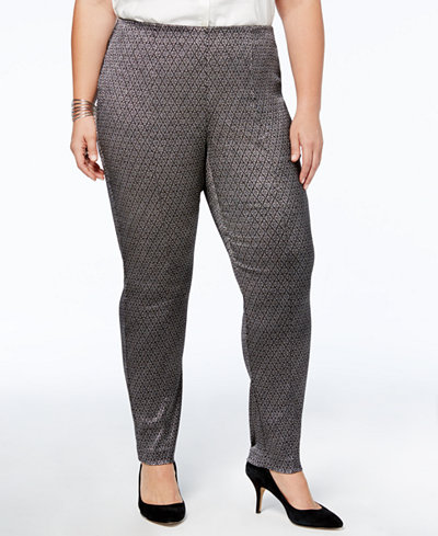 Alfani Plus Size Tummy-Control Skinny Pants, Created for Macy's
