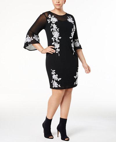 Inc Plus Size Embroidered Mesh Sheath Dress Created For Macys