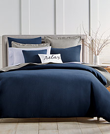 charter club damask designs diamond dot bedding collection created for macys - Navy Bedding