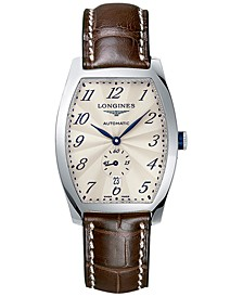 Men's Swiss Automatic Evidenza Brown Leather Strap Watch 33x39mm