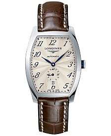 Longines Men's Swiss Automatic Evidenza Brown Leather Strap Watch 33x39mm
