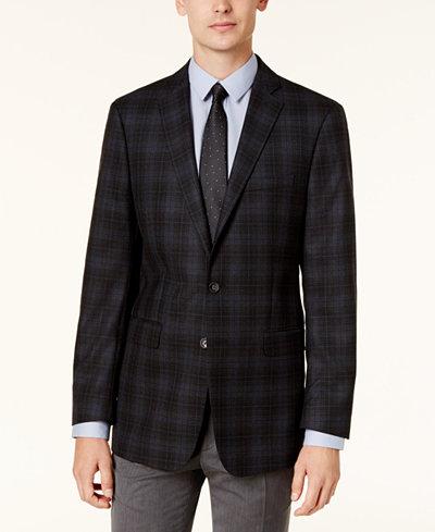 Calvin Klein Men's Slim-Fit Black & Navy Plaid Sport Coat