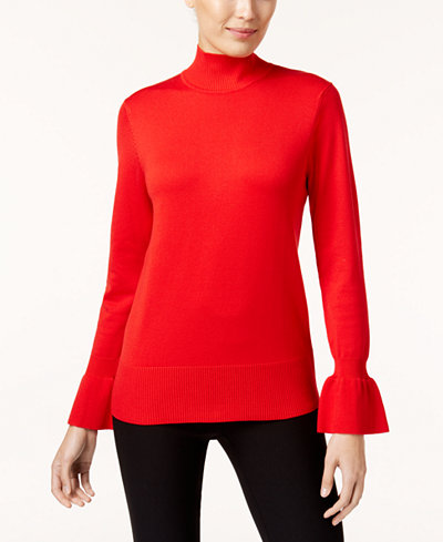 Cable & Gauge Flared-Cuff Mock-Neck Sweater