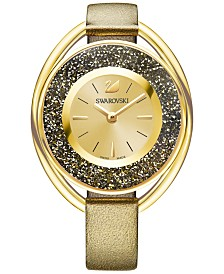 Swarovski Women's Swiss Crystalline Oval Bronze Leather Strap Watch 37mm