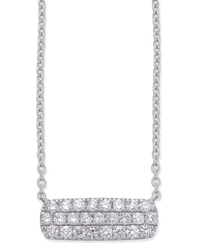 Diamond Horizontal Cluster Pendant Necklace (1/3 ct. t.w.) in 14k White Gold
