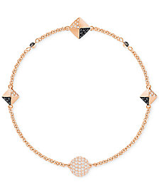 Swarovski Remix Collection Rose Gold-Tone Crystal Fireball and Pavé Pyramid Chain Bracelet