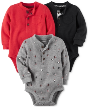 Carters 3Pk Thermal Cotton Henley Bodysuits Baby Boys (024 months)