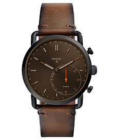Fossil Q Men's Commuter Dark Brown Leather Hybrid Smart Watch 42mm