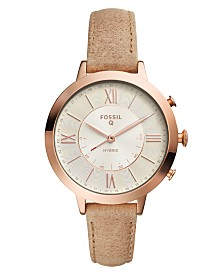 Fossil Q Women's Jacqueline Nude Leather Strap Hybrid Smart Watch 36mm