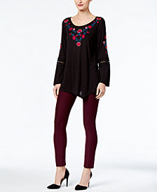 NY Collection Embroidered Top & ECI Pull-On Straight-Leg Pants