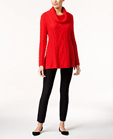 Jeanne Pierre Cowl-Neck Sweater & ECI Pull-On Straight-Leg Pants