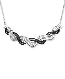 Wrapped in Love™ Diamond Wave Collar Necklace (1 ct. t.w.) in Sterling Silver, Created for Macy's