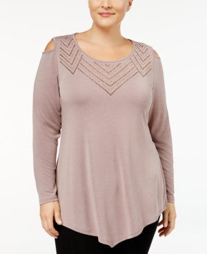 cf66a1889012b Belldini Plus Size Cold-Shoulder Top In Truffle