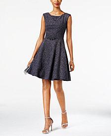 Betsy & Adam Embellished Glitter Fit & Flare Dress