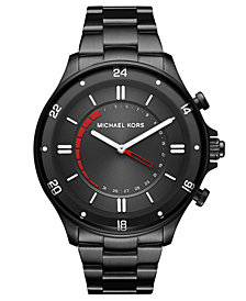 Michael Kors Access Men's Reid Black Stainless Steel Hybrid Smart Watch 45mm