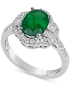 Emerald (1-3/4 ct. t.w.) & Diamond (3/8 ct. t.w.) Ring in 14k White Gold