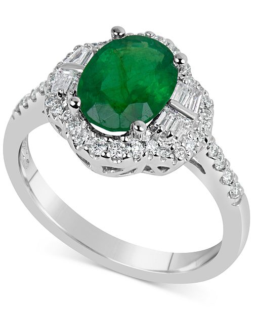 Macy's Emerald (1-3/4 ct. t.w.) & Diamond (3/8 ct. t.w.) Ring in 14k White Gold