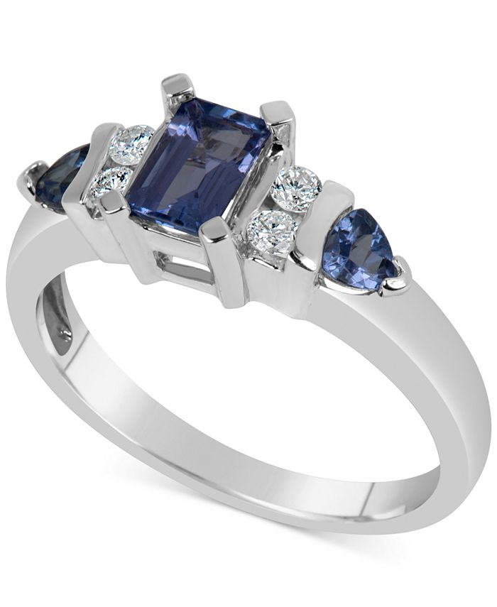 Macy's - Tanzanite (1 ct. t.w.) & Diamond (1/8 ct. t.w.) in 14k White Gold