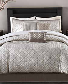 Biloxi 7-Pc. Geometric Jacquard Comforter Set Collection