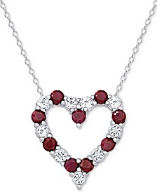 Ruby (1 1/3 ct. t.w.) & White Topaz (1 ct. t.w.) Heart Pendant Necklace in Sterling Silver (also available in Sapphire)