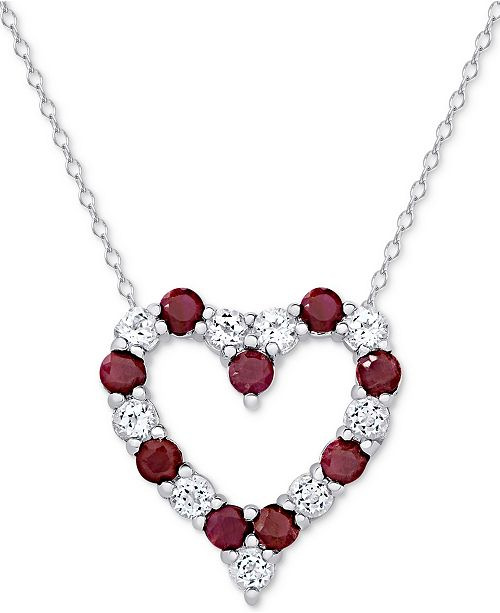 Macy's Emerald (1 ct. t.w.) & White Topaz (1 ct. t.w.) Heart Pendant Necklace in Sterling Silver (also in Ruby and Sapphire)