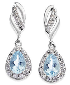 Aquamarine (3/4 ct. t.w.) & Diamond (1/3 ct. t.w.) Drop Earrings in 14k White Gold
