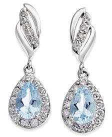 Aquamarine (3/4 ct. t.w.) & Diamond (1/3 ct. t.w.) Drop Earrings in 14k White Gold