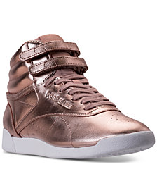 Reebok Women's Freestyle Hi Top Metallic Casual Sneakers from Finish Line